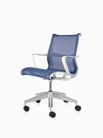 Blue Setu office chair with white arms, viewed from a 45-degree angle.