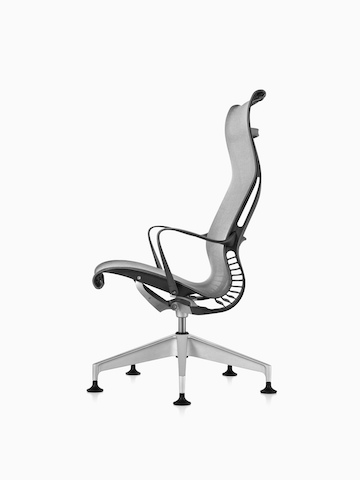 Profile view of a black Setu Lounge Chair, showing the ergonomically contoured back and Kinematic Spine.