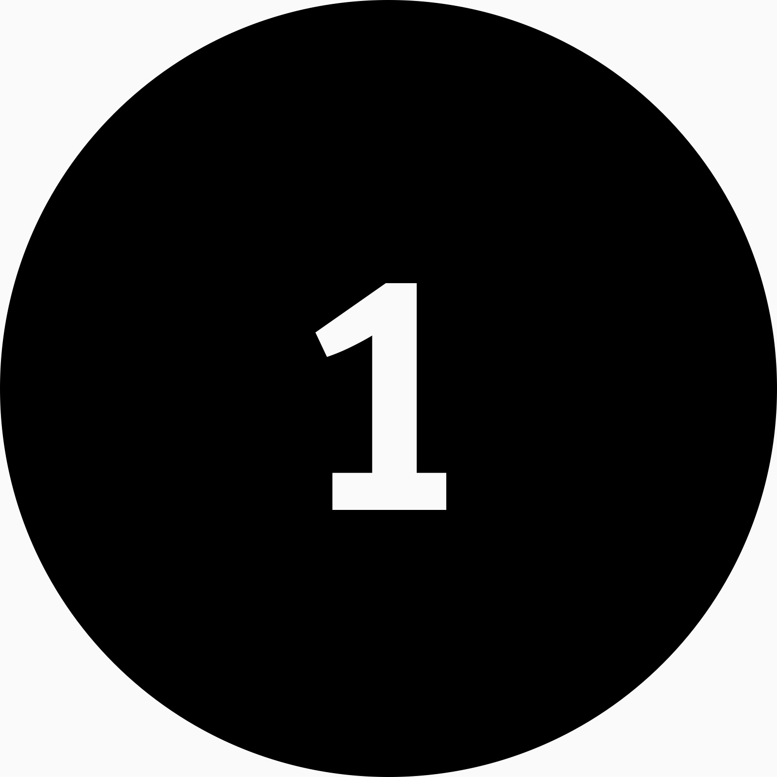 A black circle icon with the number one inside.