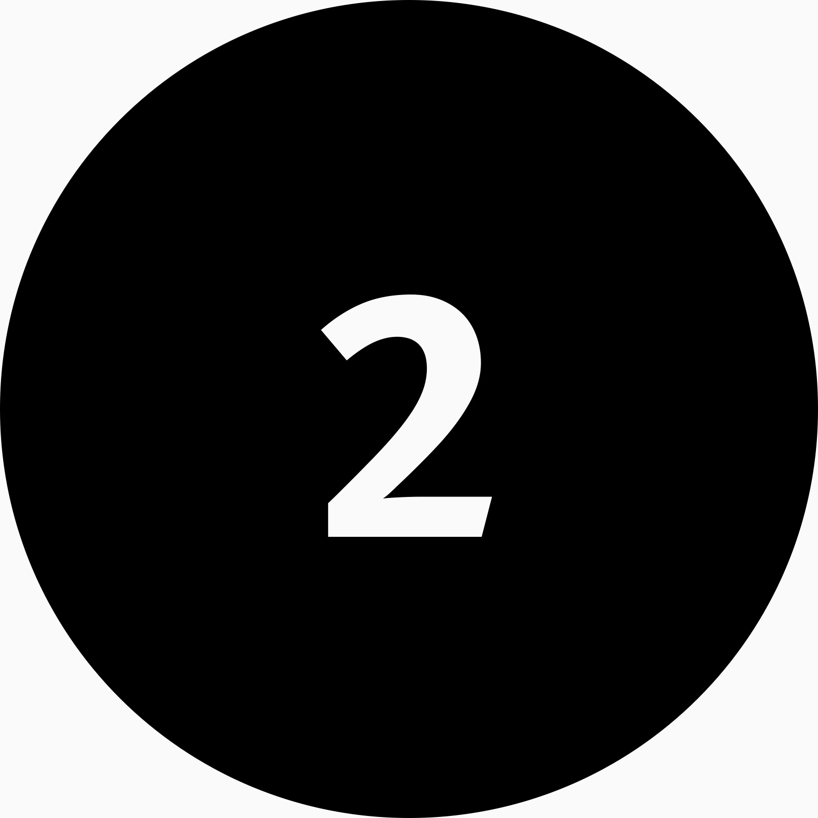 A black circle icon with the number two inside.