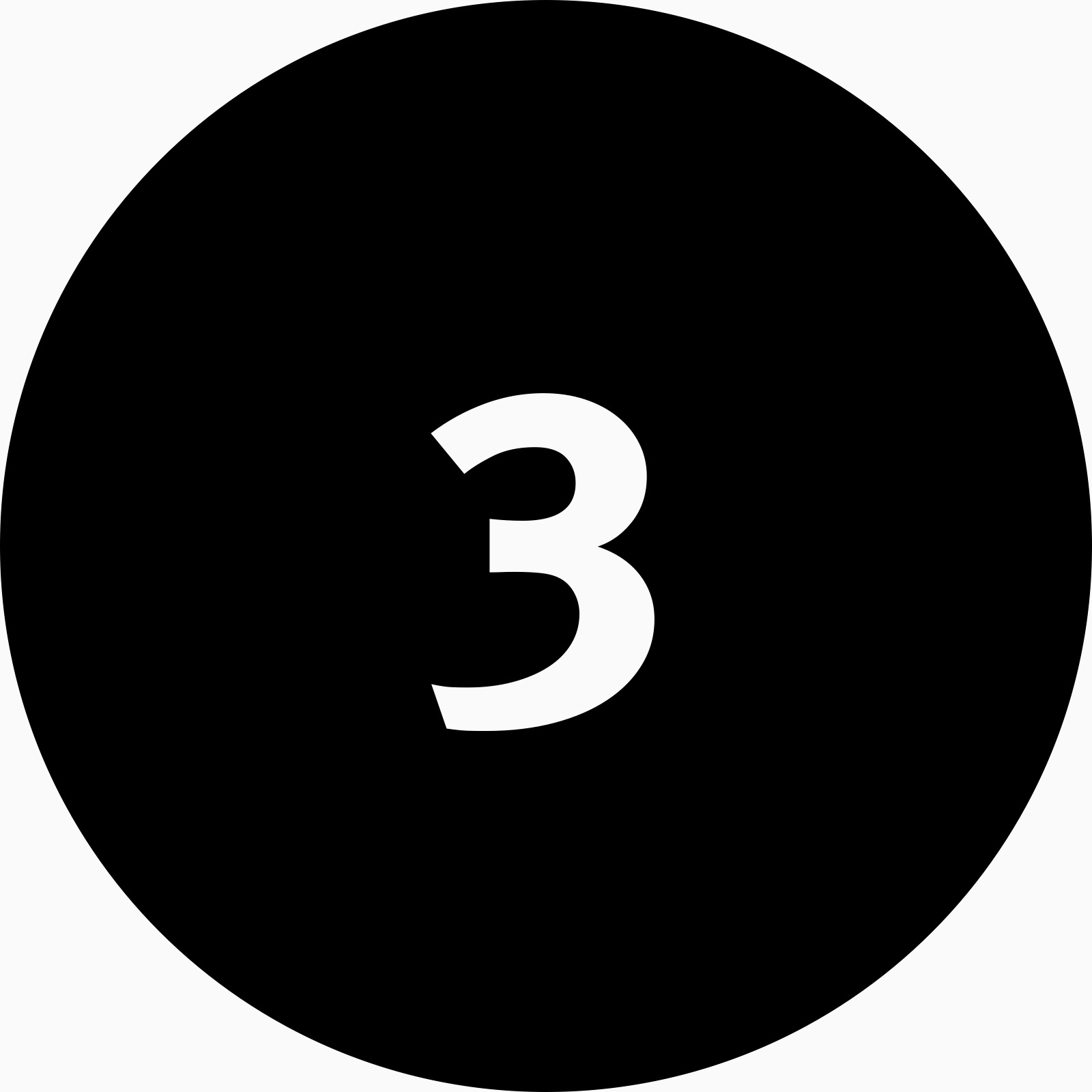 A black circle icon with the number three inside.