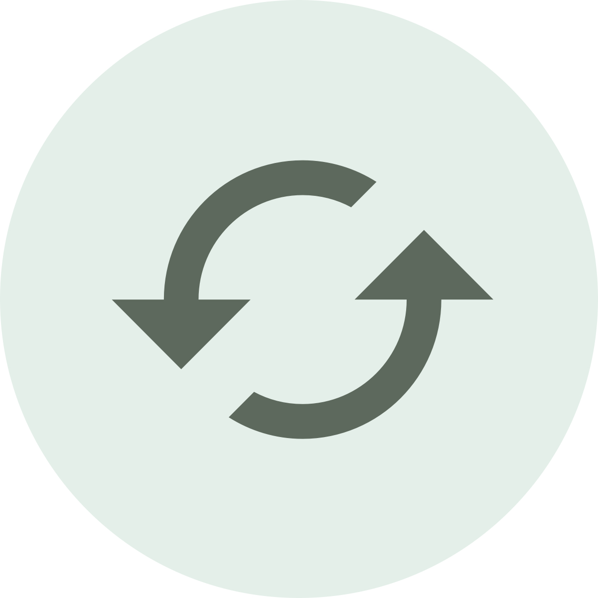 Two arrows in a circle to symbolize sustainability.