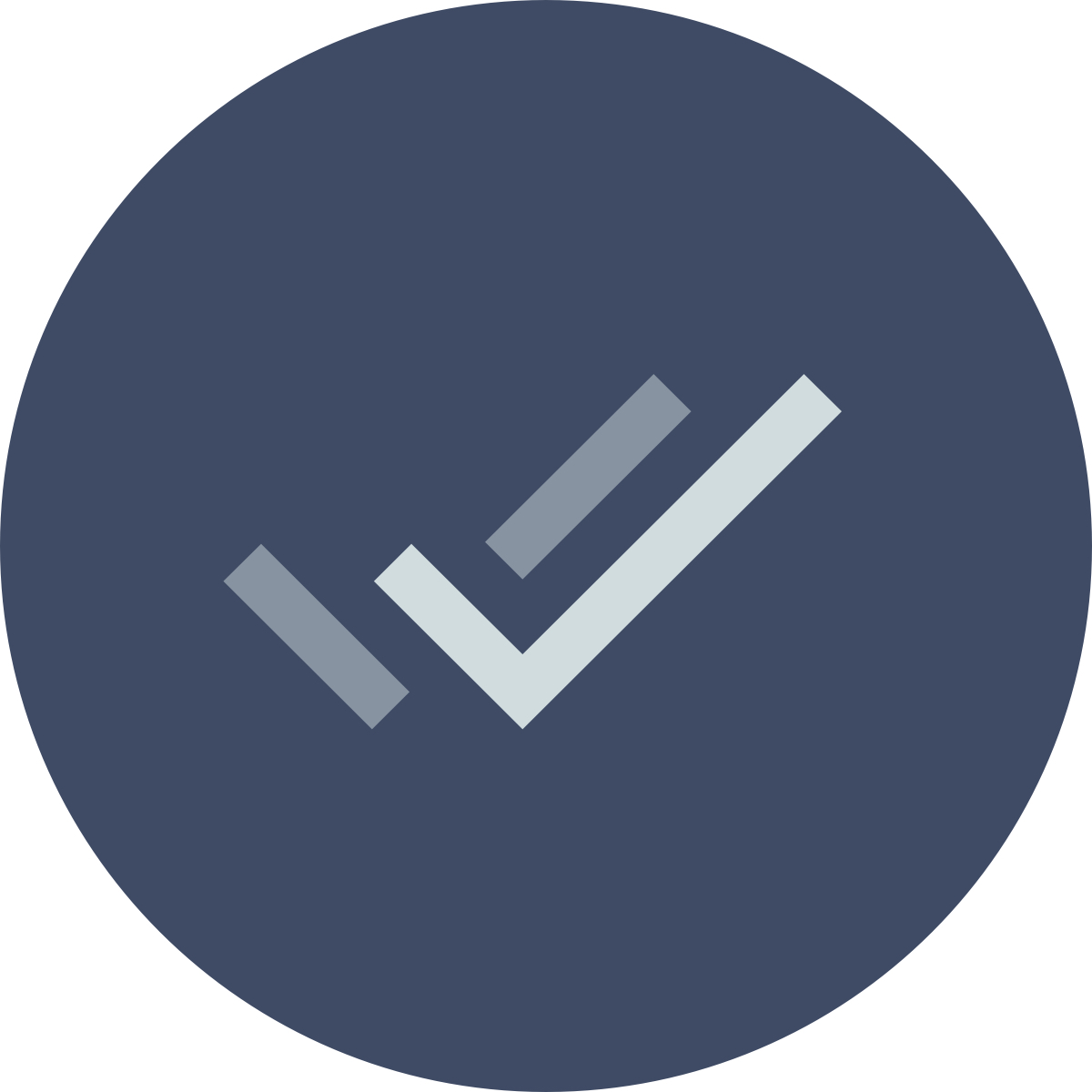 A dark blue circular icon with gray check mark in the center.