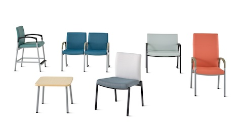 A group of Valor family including a side table, easy access chair, multiple seating, plus chair, patient chair, and stacking chair.