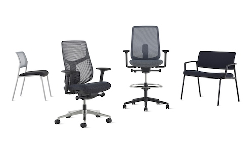 A group of black Verus chairs including a side, office, stool, and plus versions.