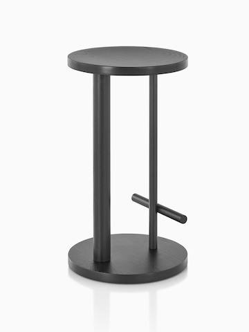 Occasional-height Spot Stool in ebony with black finish, viewed from the back at an angle.
