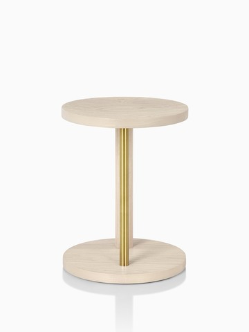 Occasional-height Spot Stool in white ash with brass finish, viewed from the front.