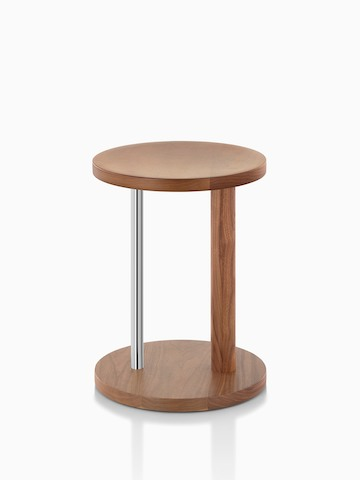 Occasional-height Spot Stool in walnut with satin chrome finish, viewed from the side.