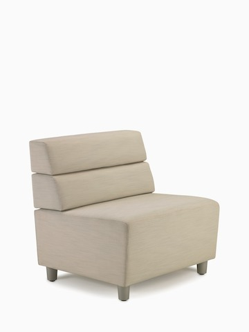 An armless Steps Lounge System seating module with beige upholstery.