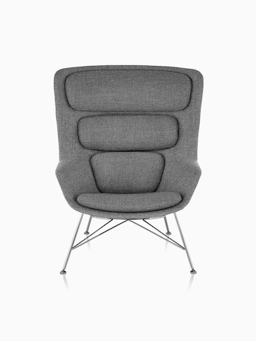 Front view of high-back Striad Lounge Chair in gray upholstery.