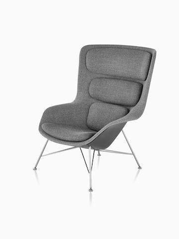 Three-quarter view of high-back Striad Lounge Chair in gray upholstery.