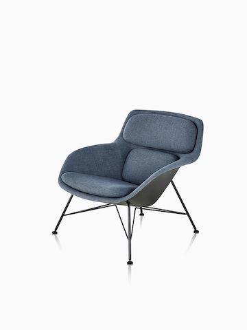 Three-quarter view of low-back Striad Lounge Chair in blue upholstery with wire base.
