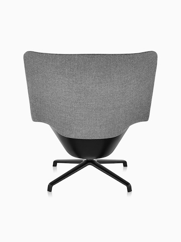 Back view of high-back Striad Lounge Chair in gray upholstery with four-star base.