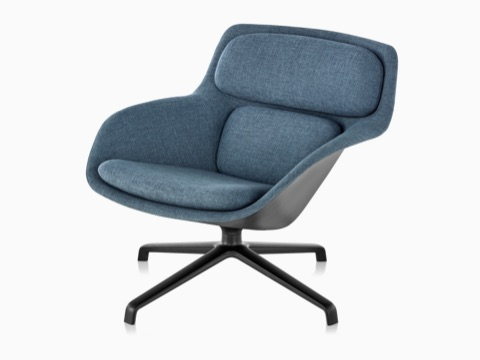 Blue low-back Striad Lounge Chair with black four-star base, viewed at an angle.
