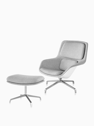 Gray Striad Lounge Chair. Select to go to the Striad Lounge Chair and Ottoman product page.