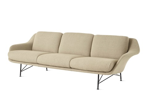 A Striad Low-Back Sofa with Three Seats in tan.