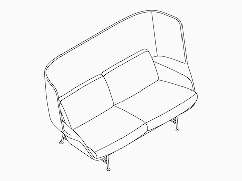 A line drawing of the Striad High Back Two and A Half-Seat Sofa