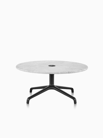 Striad occasional table in Carrara with black 4-star base.