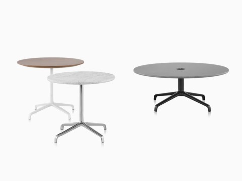 Three Striad tables showing both work table and occasional table heights.