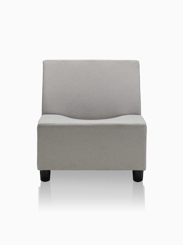 Swoop modular seating component in gray upholstery.