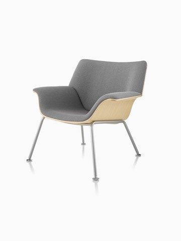 Swoop Plywood Lounge Chair with gray upholstery, viewed from a 45-degree angle.