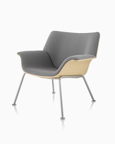 Gray Swoop lounge chair with an exposed wood shell, viewed from a 45-degree angle.