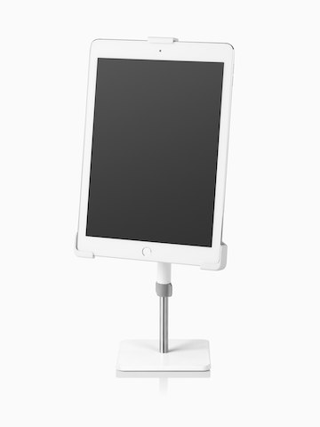 Angled view of a freestanding Tabetha Tablet Mount holding a tablet computer in portrait orientation.