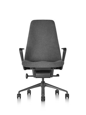 Black fabric Taper executive chair, viewed from the front.