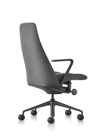 Black fabric Taper executive chair, viewed from the rear.