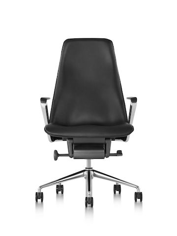 Three-quarter rear view of a black fabric Taper executive chair.