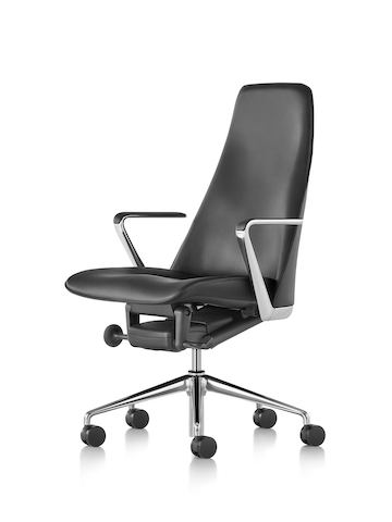Black leather Taper executive chair, viewed from the front.