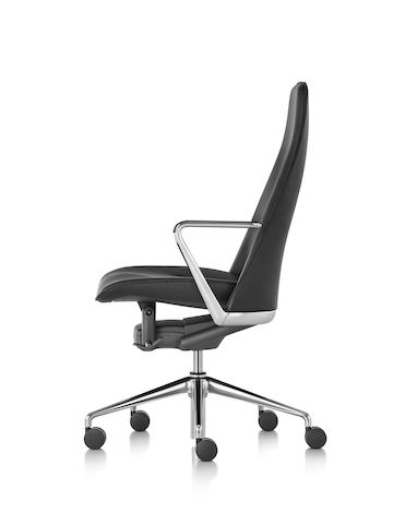 Black leather Taper executive chair, viewed from a 45-degree angle.