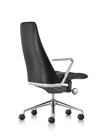 Black leather Taper executive chair, viewed from the rear.