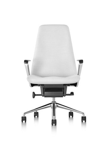White leather Taper executive chair, viewed from the front.