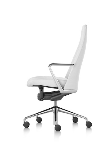 Profile view of a white leather Taper executive chair.