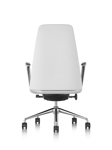 White leather Taper executive chair, viewed from the rear.
