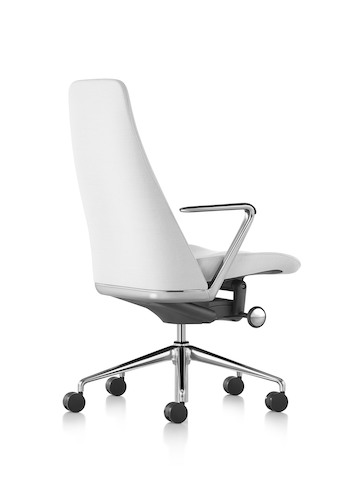 White leather Taper executive chair, viewed from a 45-degree angle.