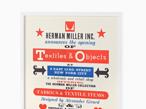 A poster promoting the 1961 debut of the Textiles & Objects shop Alexander Girard opened with Herman Miller in Manhattan.