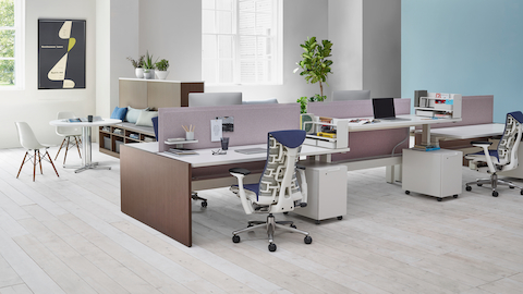 Tu mobile pedestals bring individual storage to open workstations in a benching arrangement.