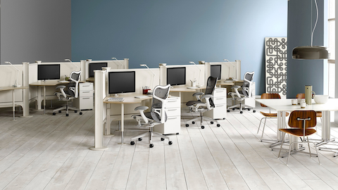 Tu mobile pedestals provide individual storage for open workstations.