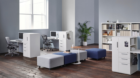 Tu storage towers support individual workstations with ample storage in a compact footprint.