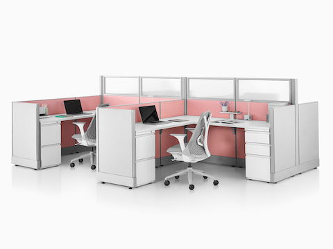 Two open workstations with Tu surface-attached pedestals.