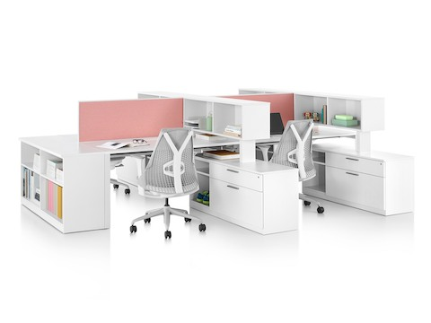 Various Tu storage components create the structure for two adjacent workstations.