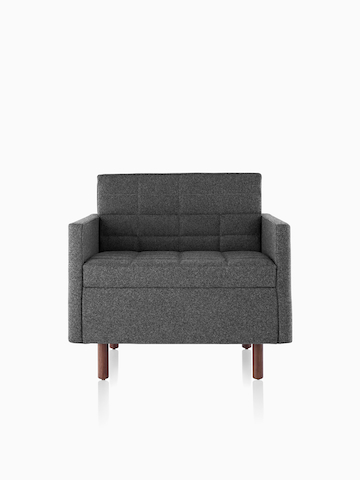 Dark gray Tuxedo Classic Lounge Chair, viewed from the front.