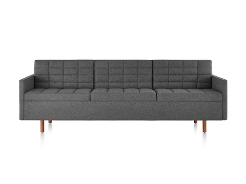 Dark gray Tuxedo Classic Sofa, viewed from the front.
