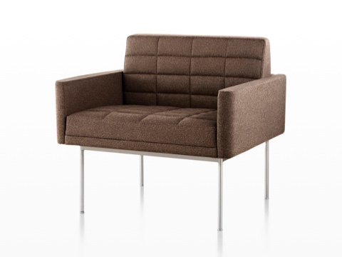 Brown Tuxedo Lounge Seating with quilted fabric upholstery and satin chrome legs, viewed from the front on an angle.