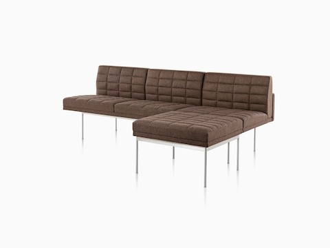 Small, brown Tuxedo corner sectional, viewed from front.