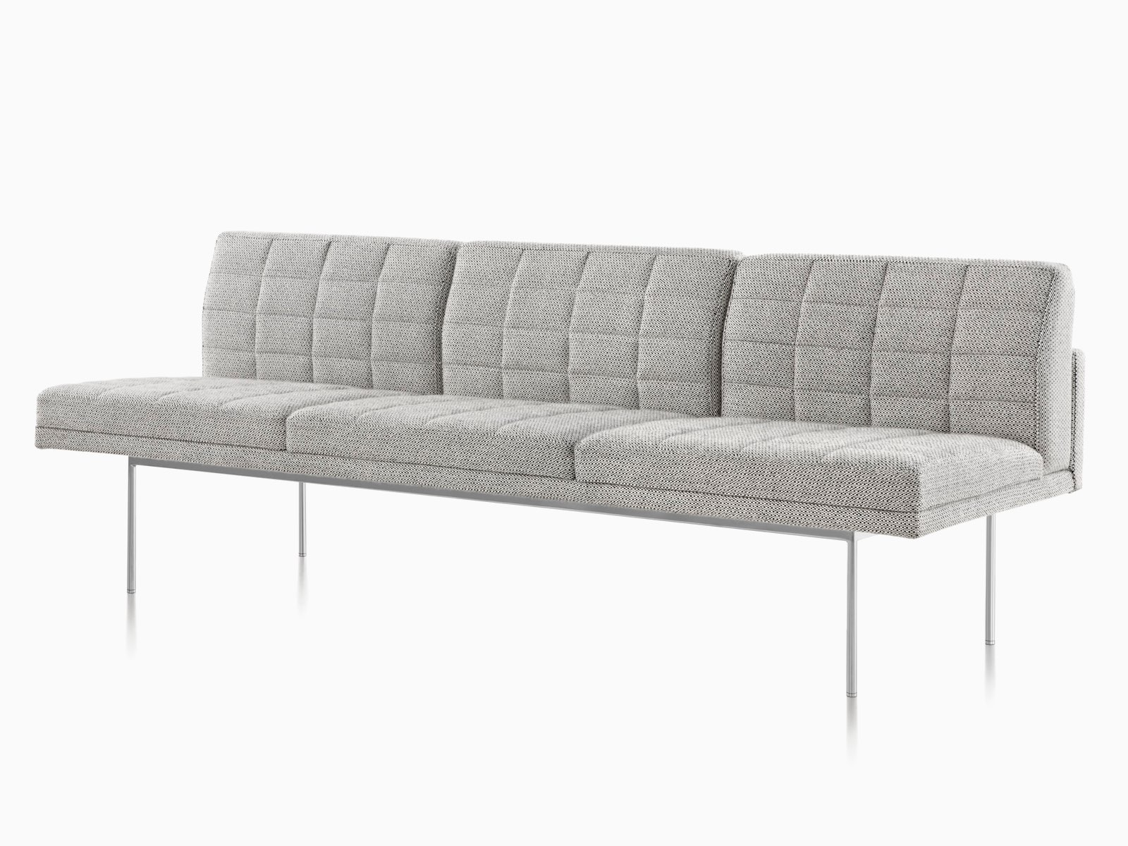 Gray Tuxedo Sofa, viewed from front.