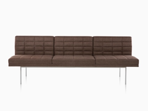 Dark Brown Tuxedo Sofa With Quilted Fabric Upholstery Viewed From The Front