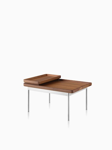 A Tuxedo Table supporting two trays in a medium wood finish. Select to go to the Tuxedo Tables product page.